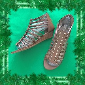 Charlotte Russe Brown Wedge Gladiator Sandals 8